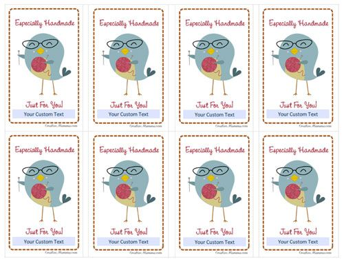 Kawaii crafty bird mini cards: handmade just for you: free printable