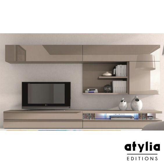 Meuble TV design laqué beige Maya LED ATYLIA Editions