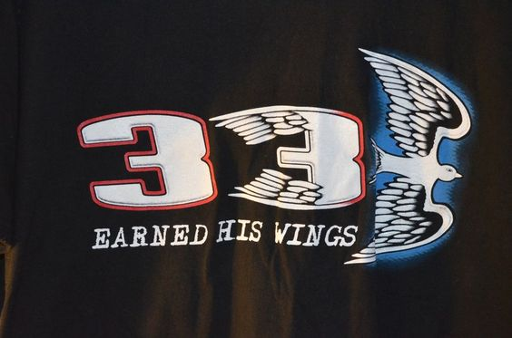 Dale Earnhardt 3 Earned His Wings T-Shirt Memorial Nascar Extra Large Dove Black #ShortSleeve