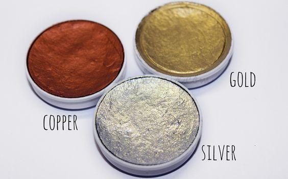 KRYOLAN   Aquacolores metalicos de Kryolan en Cobre Oro y Plata