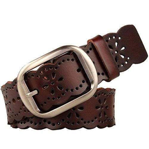 JASGOOD Women's Hollow Flower Genuine Cowhide Leather Belt