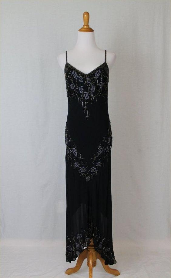 SUE WONG Black & Purple Silk 1920's Inspired Beaded Flapper Dress Gown Gatsby #SueWong #AsymmetricalHem #Formal
