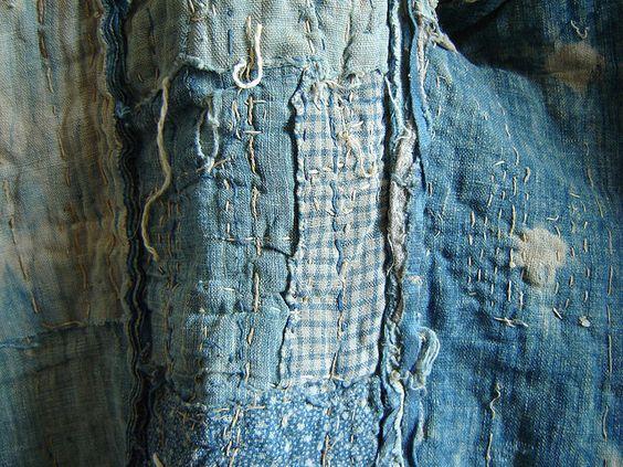 Detail: An Indigo Dyed Boro Yogi, or Kimono-Shaped Duvet | Flickr - Photo Sharing!