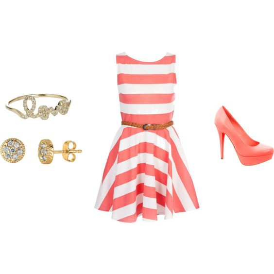 Coral striped dress with coral platform heels, created by chaliceanne on Polyvore