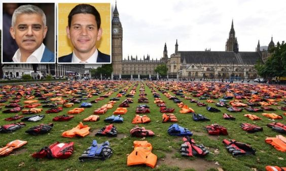 Fury as London's ISLAMIST mayor Sadiq Khan allows David Miliband migrant charity to take over Parliament Square with 'life-jacket graveyard' protest