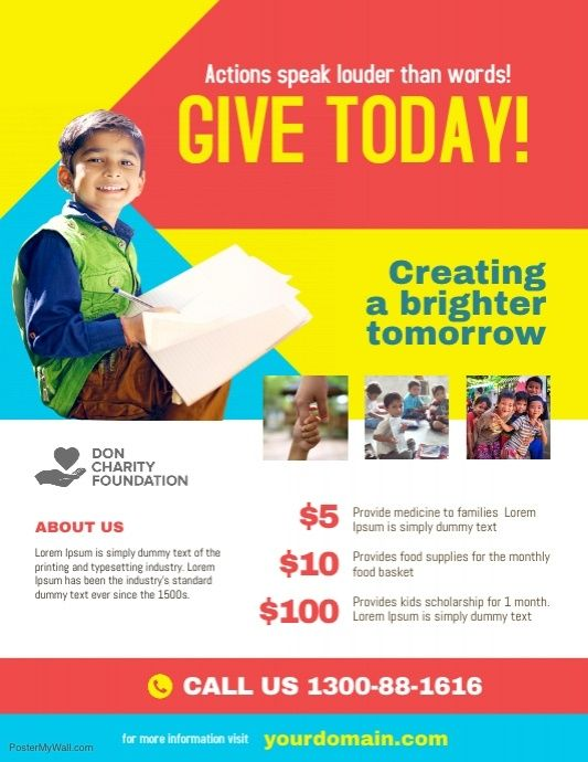 Charity Donation Fundraising Flyer Poster Template With Images