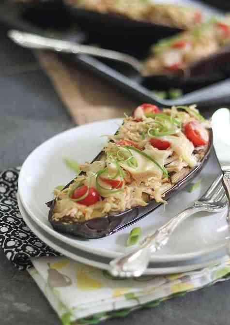Cheesy Chicken Stuffed Eggplant. #yum