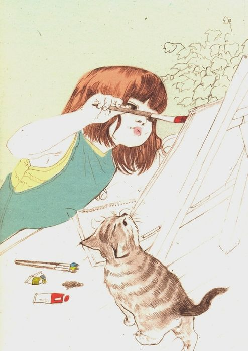 little girl, little cat, painting