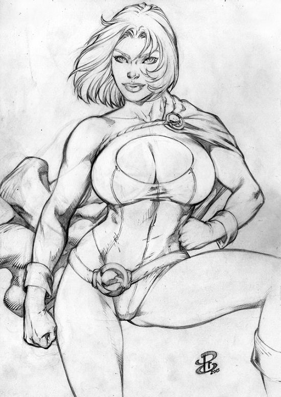POWRGIRL PENCIL - SEXY BEAUTIFUL ORIGINAL PINUP ART BY RENATO CAMILO – RC