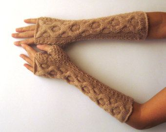 Beige Knit Fingerless Gloves Cable Fingerless Mittens Women Hand Warmers Warm Wool Winter Gloves Women Knit Fashion Cable Mitts - KG0056