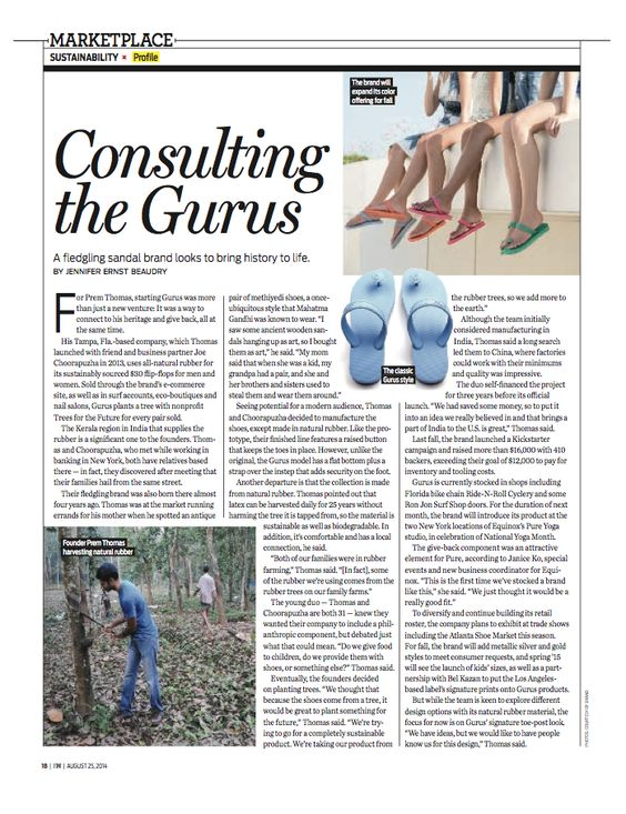 @ilovegurus Profile in #footwearnews #wdd #sustainable #fashion  www.wwd.com/footwear-news/markets/gurus-sandals-taps-into-heritage-7846792