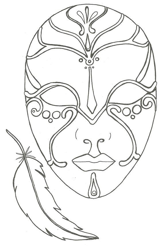 coloriage le masque et la plume: