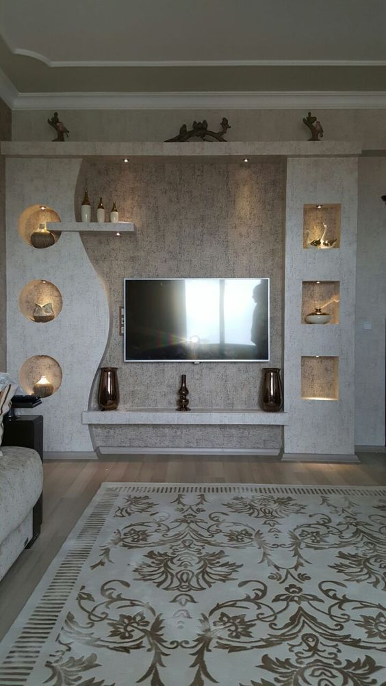 Couple Saw This Diy Bookshelf Design Online But They Had No Idea It Would Turn Out So Good Modern Tv Wall Units Tv Room Design Living Room Tv Wall