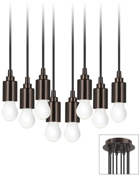 Europa 8 Bulb Adjustable Bronze Swag Chandelier -