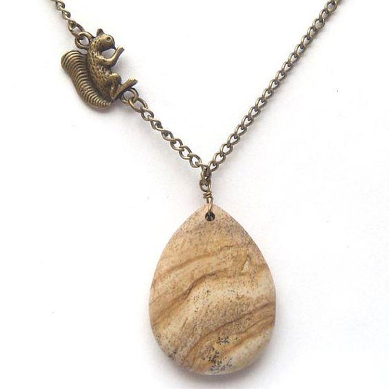 Antiqued Brass Squirrel Wood Jasper Necklace