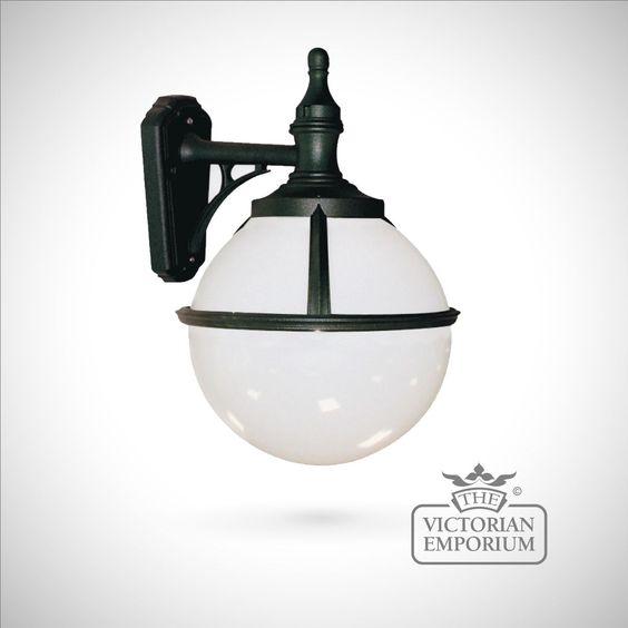 Buy Globe wall lantern, Outdoor Wall Lights - Spherical black wall light with opaque shade