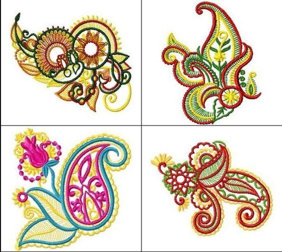 Indian motifs machine embroidery pinterest