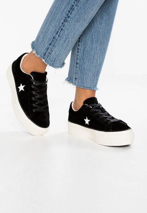 Converse ONE STAR PLATFORM OX VELVET - Sneakers laag - black ...