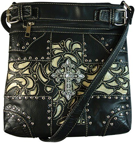 Concealed Gun Carry Purse Western Laser Cut Cross Body Bag Black and Beige Texcyngoods