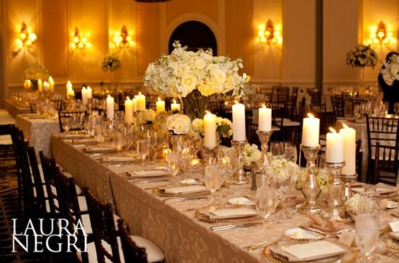 white/ivory and gold wedding centerpiece and decor: Head Table, Tablesettings, Table Setting, Feasting Table, Gold Wedding