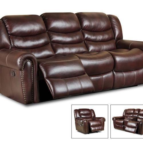 Italian Leather Softie Oxblood Glider Reclining Sofa And Loveseat