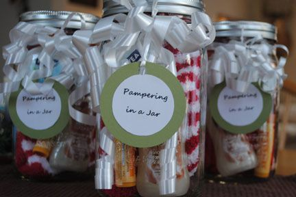 Pampering in a Mason jar: fuzzy socks, lip balm, hand lotion or bubble bath, chocolates, ribbon and cute tag!