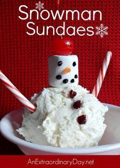 Snowman Sundaes are easy family friendly Christmas sweet treats.