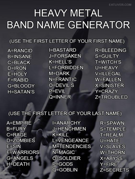 Funny Meme Names Generator : Heavy metal band name generator my best humor pin