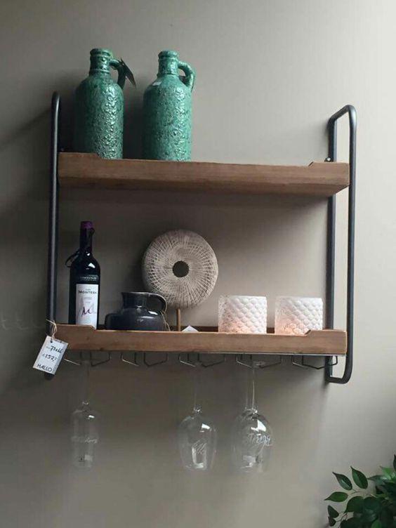 Wijn keuken wandrek wandrek 2 laags 73x20x69 cm sucre hout - Keuken uitgerust voor klein gebied ...
