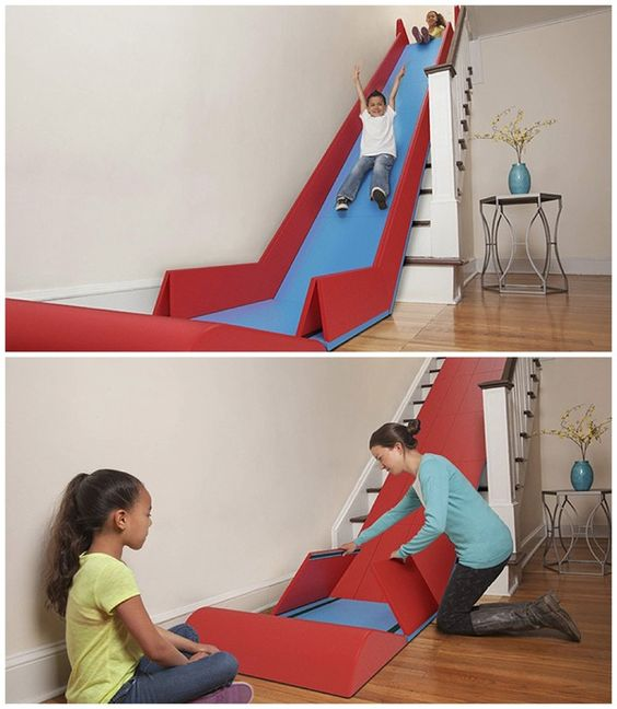 Turn stairs into a giant fun slide. My nieces and nephews would LOVE this!!