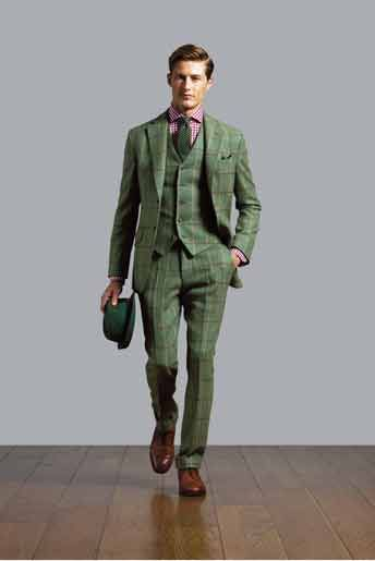 Tweed for your groom - all by Hackett.  Personally think this is a great look but it's perhaps not one for the understated groom (especially with the hat - I know Batman's big at the moment but the bride might not dig the 'Riddler-meets-Andre3000' look)