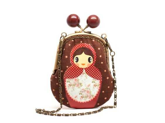 Brown starry candy Russian doll clutch pouch by misala on Etsy