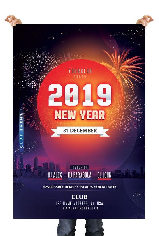 Happy Nye 2019 Free Psd Flyer Template Pixelsdesign Free Psd Flyer Templates Psd Flyer Templates Free Psd Flyer