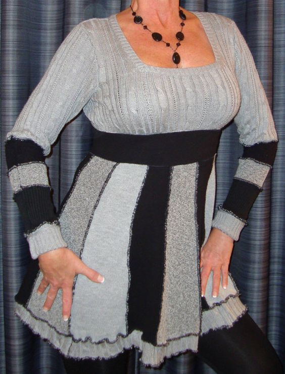 Upcycled Sweater Dress in Black and Grays OOAK. $100.00, via Etsy.