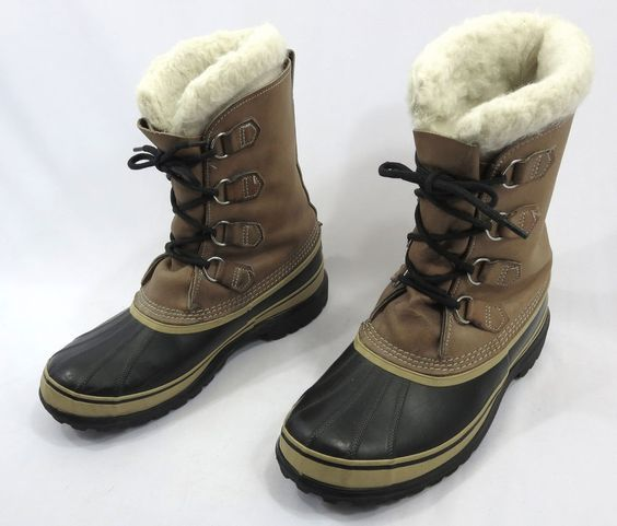 SOREL Boots Canada 10 Caribou Kaufman Brown Leather Mens Snow