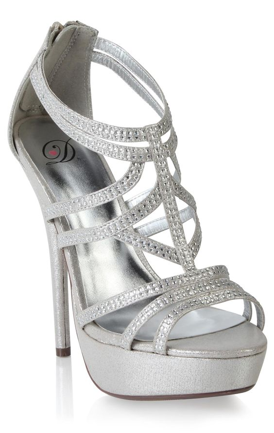Silver Open Toe High Heels