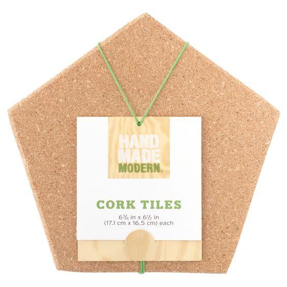 Hand Made Modern 2pk Cork Tiles, Brown