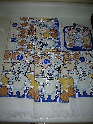 1988 Pillsbury Doughboy Cookies 3 Hand Towel~2 Dish Cloth~Pot Holder Kitchen Set