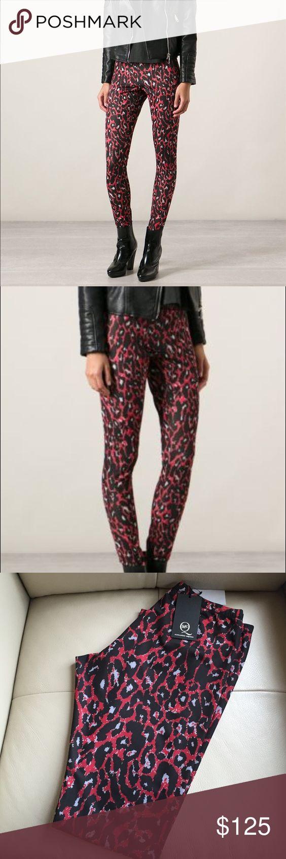 Alexander McQueen red leopard leggings NWT Poly Lycra blend Alexander McQueen Pants Leggings