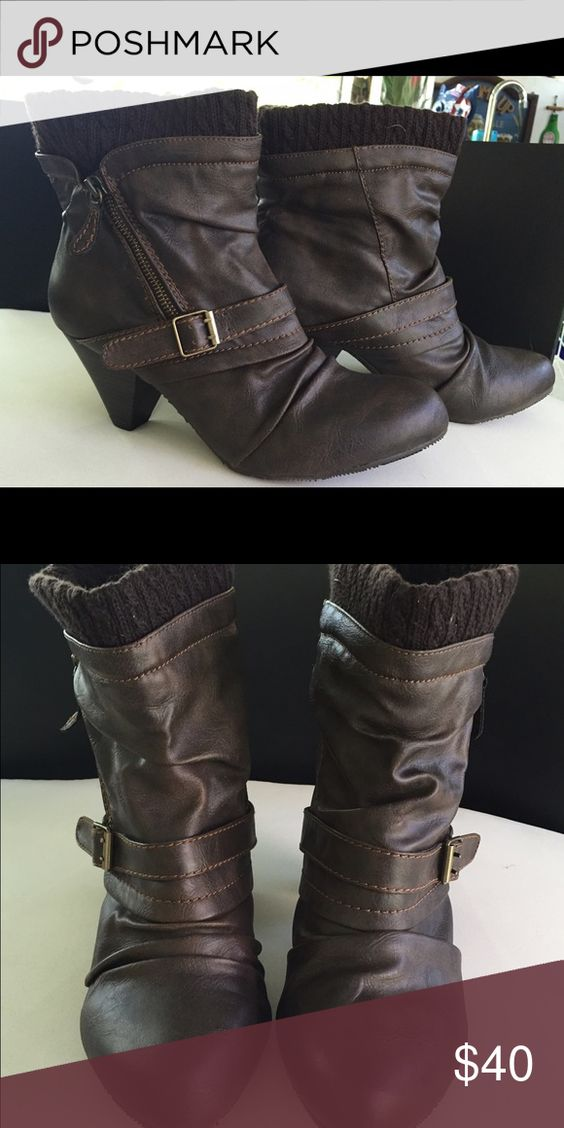 Ankle boots Ankle boots. Dark brown with 2 1/2 inch heel with buckles. Zipper on side. Size 10, never worn. Shoes Ankle Boots & Booties