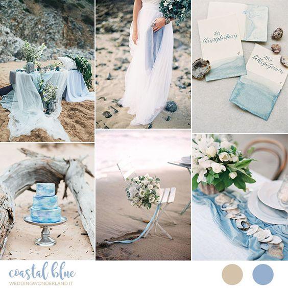 Inspiration board: Matrimonio azzurro e organico sulla spiaggia
