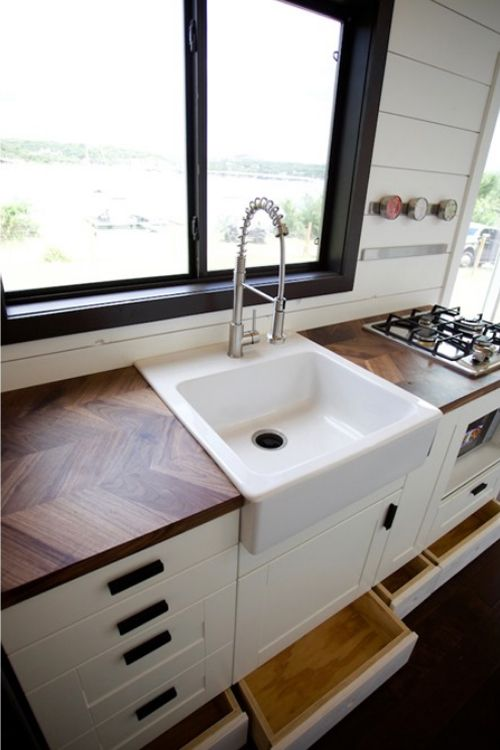 Texas Waterfront By Nomad Tiny Homes Tiny Living Farmhouse Sink Home Farmhouse Sink Kitchen