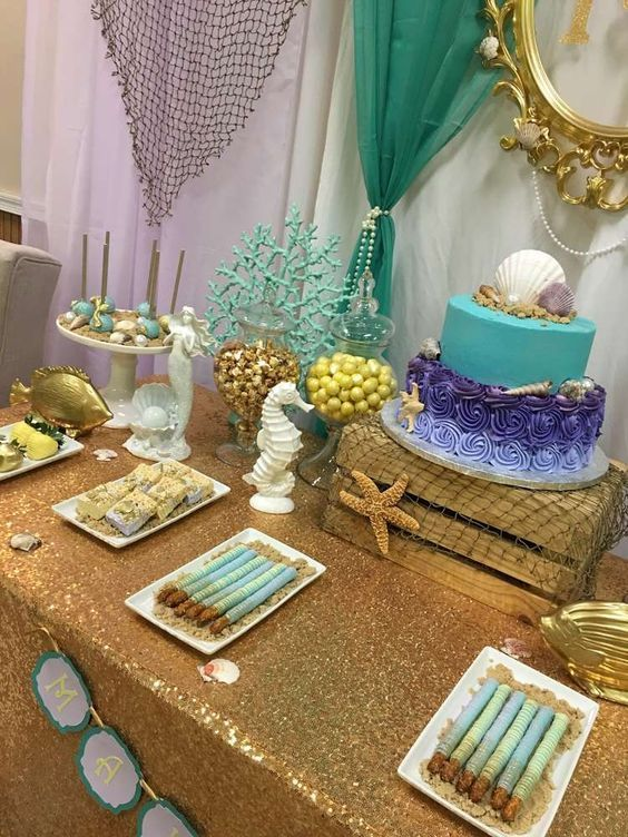 Mermaid Themed Baby Shower Baby Shower Party Ideas Baby Girl