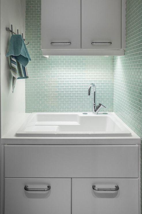 Utility Sink Backsplash Laundry Room Mini Brick Backsplash Tiles Design Ideas Fascinating Design Decora White Laundry Rooms Green Bathroom Modern Laundry Rooms