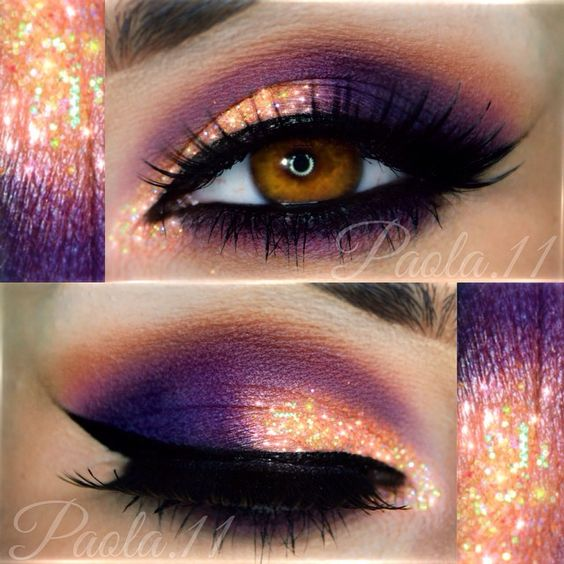 @queenricann   makeup   pictorial   purple sunset   purple   gold   pink   liner   lashes   fashion
