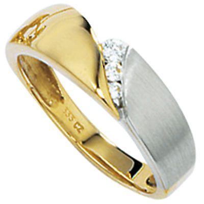 Damen Ring 333 Gold Gelbgold Weißgold teilmattiert 3 Zirkonia Goldring