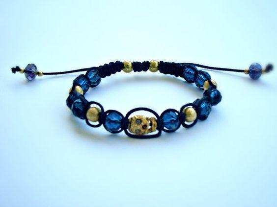 ♥ Pulseira Shambala Skull - Dourada R$25.00