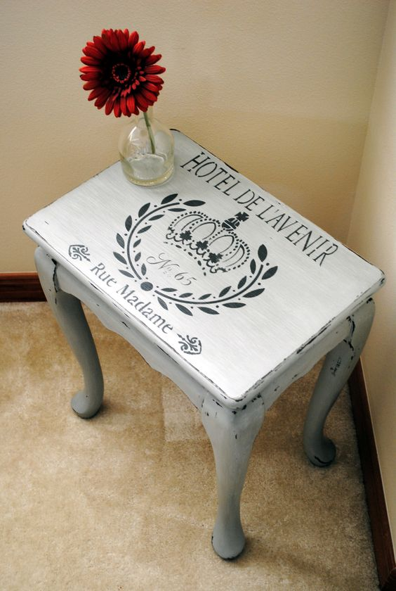 Stenciled side table in seattle mist and smokey mountain for Furniture refinishing seattle