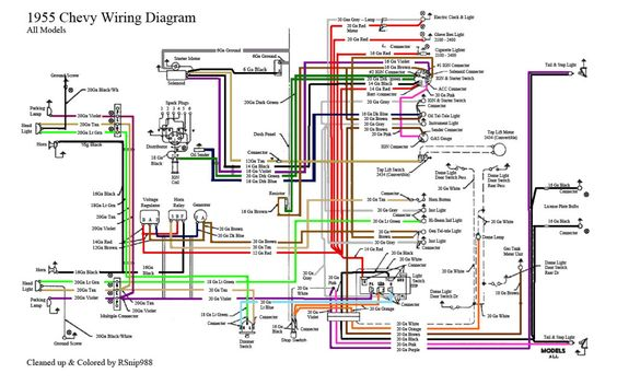 55 chevy color wiring diagram | 1955 chevrolet | pinterest ... 52 chevy pickup wiring diagram