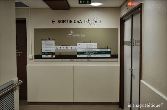 http://isis-signaletique.blogspot.com signalétique hôpital -Lyon - Rhône - CLB LUMEN - panneau synoptique général de l'hôpital - impression numérique plastifiée - marquages adhésifs sur mur - signalisation radioprotection